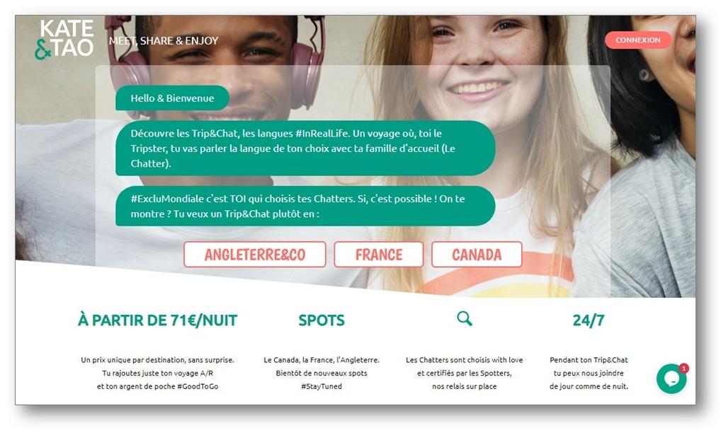 site internet de kate&tao dédié au séjour en immersion totale